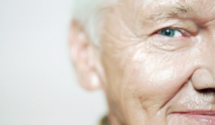 close up of older persons face