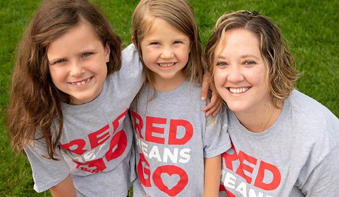 two girls and mom participants walk for your heart