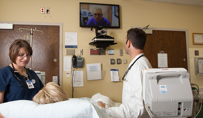 doctor video calling patient at hospital