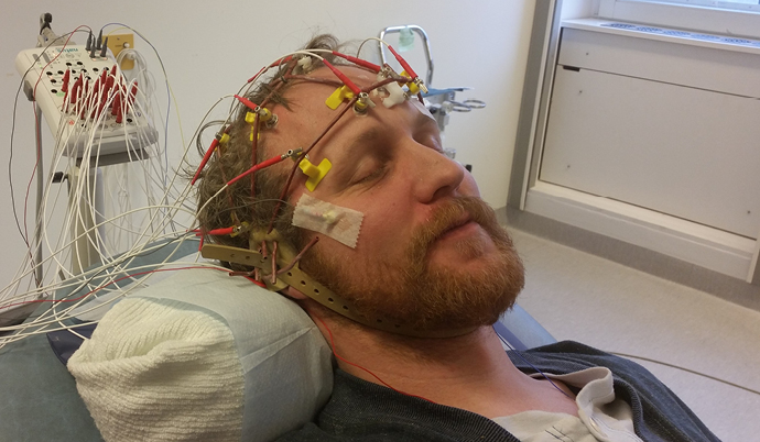 man during sleep study