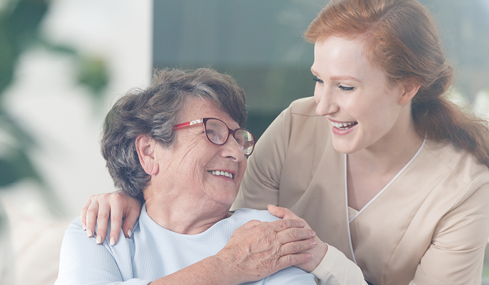 woman smiling with older patient